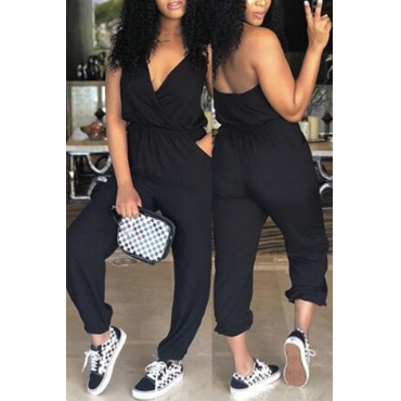 Lovely Chic V Neck Black Polyester One-piece Jumpsuits