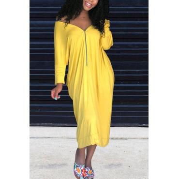 Lovely Casual V Neck Batwing Sleeves Zipper Design Yellow Blending Mid Calf Dress