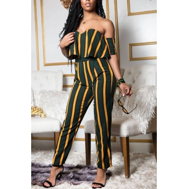 Lovely Polyester Fashion Striped Short Sleeve Bateau Neck Pants Two Pieces