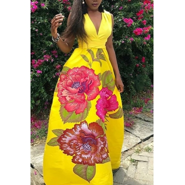 LovelyBohemian V Neck Printed Yellow Polyester Floor Length Dress