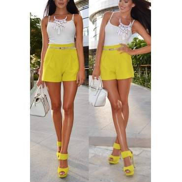 Lovely Casual U Neck Qmilch Two-piece Shorts Sett(Without Belt)
