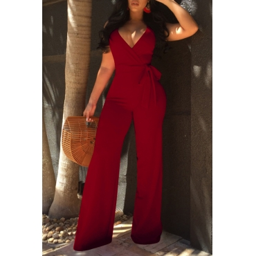 Lovely Elegant V Neck SleeveLess Purplish Red Polyester One-piece Jumpsuit(With Belt)