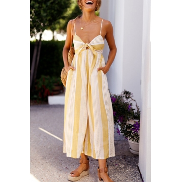 Lovely Street V Neck Yellow Striped Polyester One-piece Jumpsuits