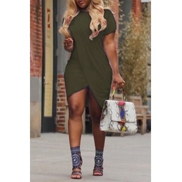 LovelyCasual Round Neck Irregular Army Green Polyester Mini Dress