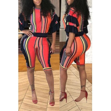 LovelyFashion Striped Printed Red Polyester Two-piece Short Set