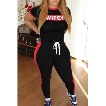 LovelyCasual Letter Printing Black  Two-piece Pants Set