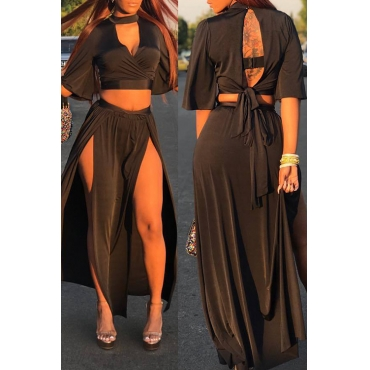 Lovely Sexy V Neck Hollow-out Black Polyester Two-piece Skirt Set