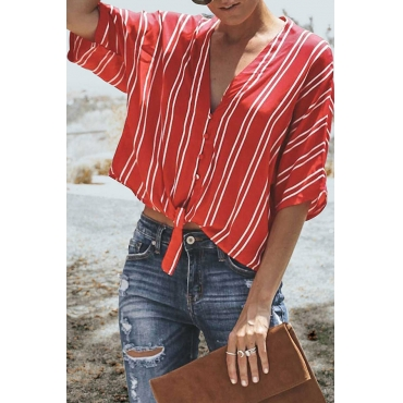 Lovely Casual V Neck Striped Printed Red Blending Shirts