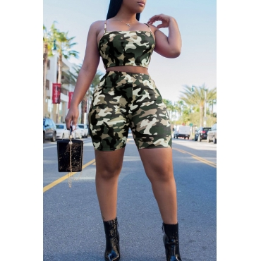 LovelyCasual Dew Shoulder Camouflage Printed Green Polyester Two-piece Shorts Set