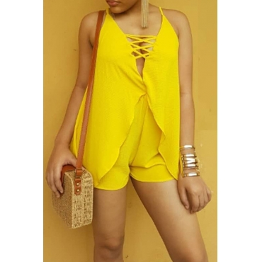 Lovely Fashion V Neck Yellow Polyester Two-piece Shorts Set