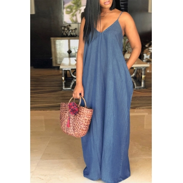 Lovely Fashion V Neck Blue Denim Floor Length Dress