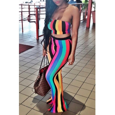 Lovely Sexy Bateau Neck Colorful Striped Polyester Two-piece Pants Set