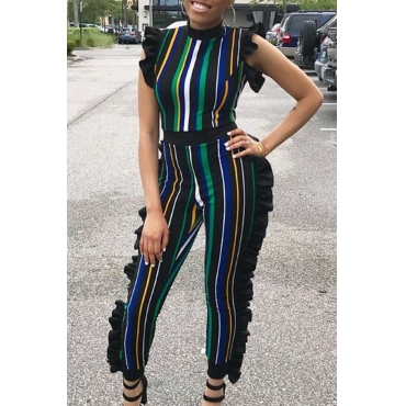 LovelySexy Round Neck Ruffle Striped Patchwork Blue Polyester One-piece Jumpsuits