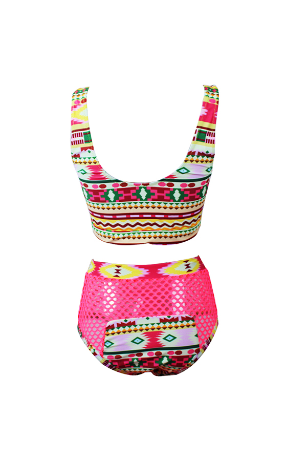 LovelyChic Lace-up Hollow-out Printing Red Polyester Two-piece Swimwears
