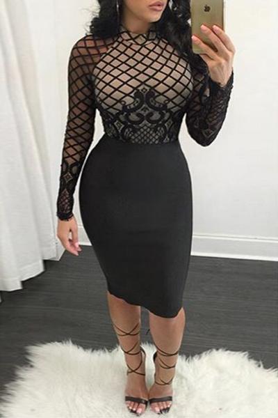 LovelyTrendy O Neck Long Sleeves Mesh Patchwork Black Polyester Sheath Knee Length Dress