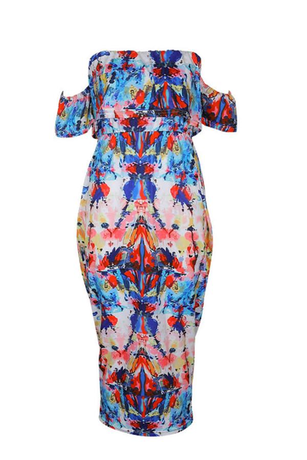 LovelyWork Bateau Neck Printing Mid Calf Dress