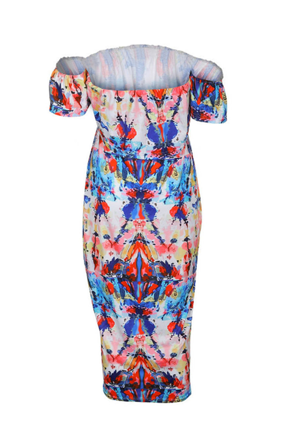 Lovely Work Bateau Neck Printing Mid Calf Dress