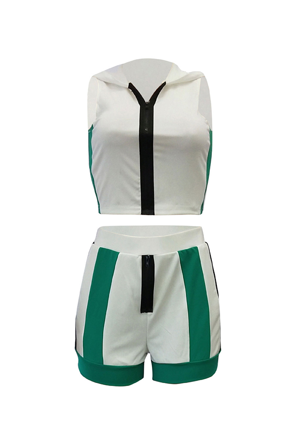 Lovely Casual Hooded Collar Striped White Two-piece Shorts Set