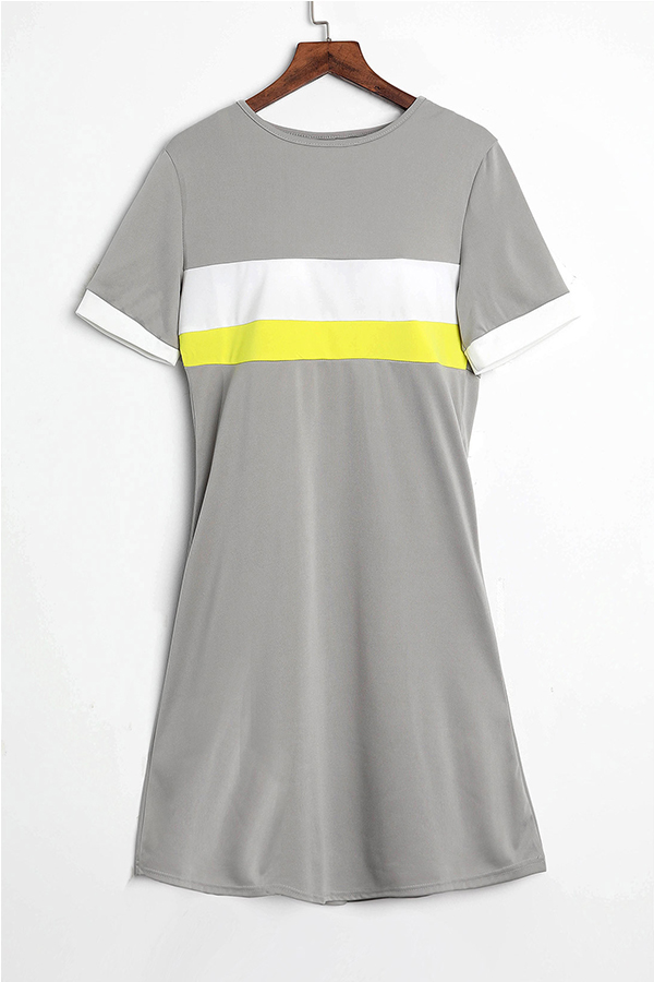 LovelyFashion Round Neck Patchwork Light Grey Blending Mini Dress