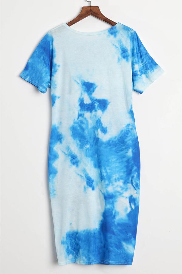 LovelyCasual Round Neck Printing Irregular Light Blue Polyester Mini Dress