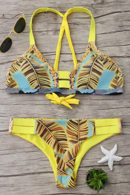 Lovely Fashion Printing Yellow Nylon Two-piece Swimwears