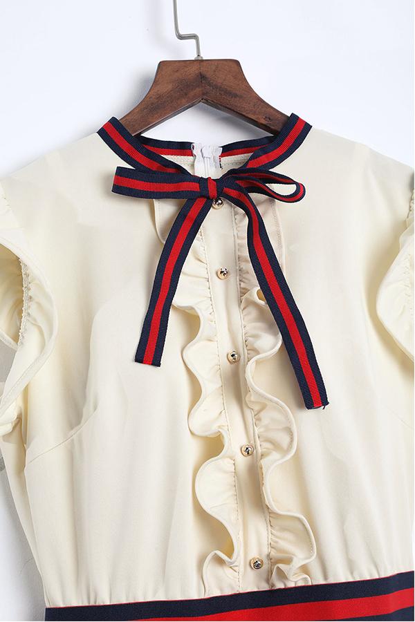 LovelyFashion Round Neck Ruffle Design Beige Blending Sheath Knee Length Dress