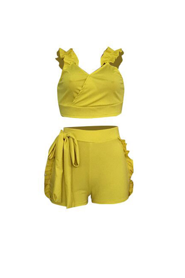 LovelyCharming Falbala Design Yellow Cotton Blends  Two-piece Short Set