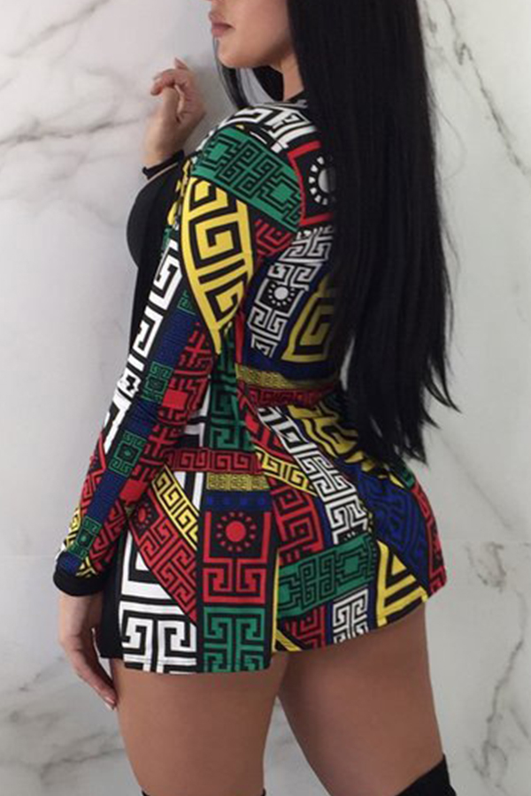 Lovely Fashion U Neck Printing Black Two-piece Shorts Set(With Coat)