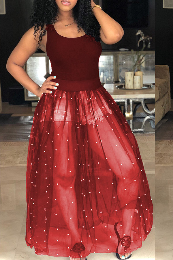 Lovely Casual U Neck Nailed Pearl Patchwork Purplish Red Blending Ankle Length Dress