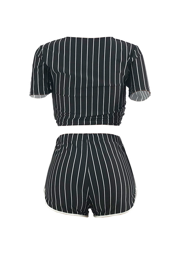 LovelyCasual V Neck Letter+Striped Printed Black Qmilch Two-piece Shorts Set