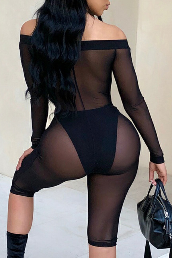 Lovely Sexy Bateau Neck See-Through Letter Black One-piece Romper