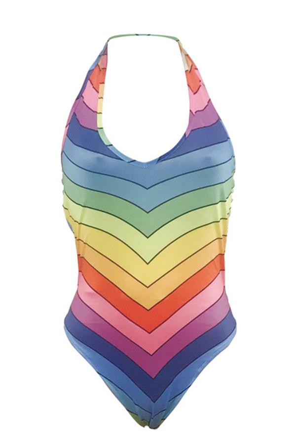 Lovely Euramerican Striped Milk Fiber One-piece Swimwear