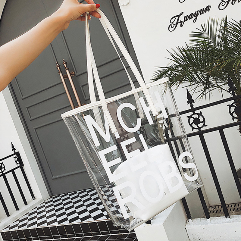 Lovely Fashion Transparency White Shoulder Bags