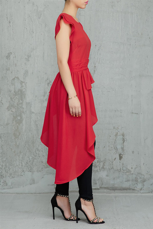 Lovely Trendy Asymmetrical  Red Twilled Satin Shirts