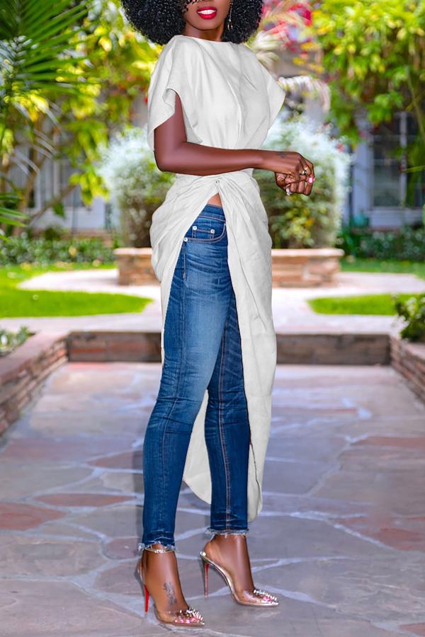 Lovely Trendy Short Sleeves Asymmetrical White Cotton Blends Shirts