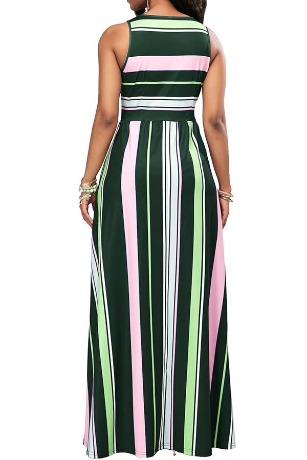Lovely Healthy Fabric Casual Tank Sleeveless O Neck Ankle Length Waist skirt Dresses
