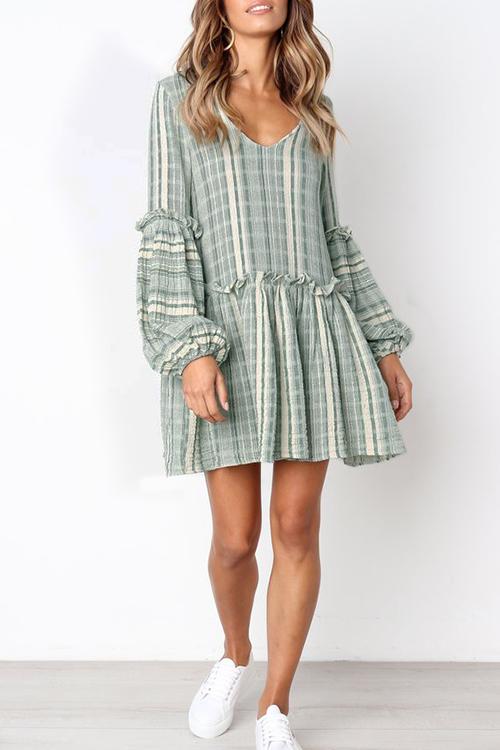 Lovely Cotton Blends Casual Regular sleeve Long Sleeve V Neck Mini A Line