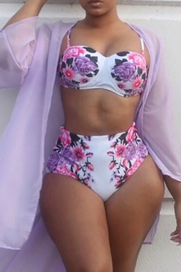 Lovely Sexy Printed White Polyester Two-piece Swimwear (Without  Shawl)
