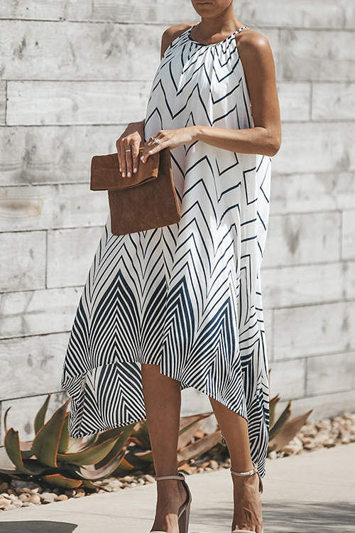 Lovely Polyester Bohemian Sleeveless Mid Calf A Line Dresses