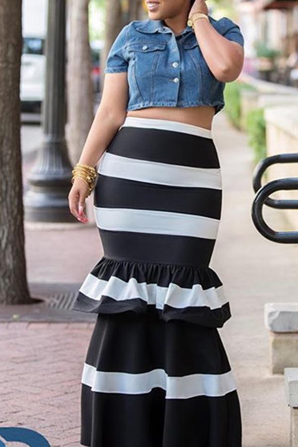 LovelyTrendy High Waist Striped Black Skirt