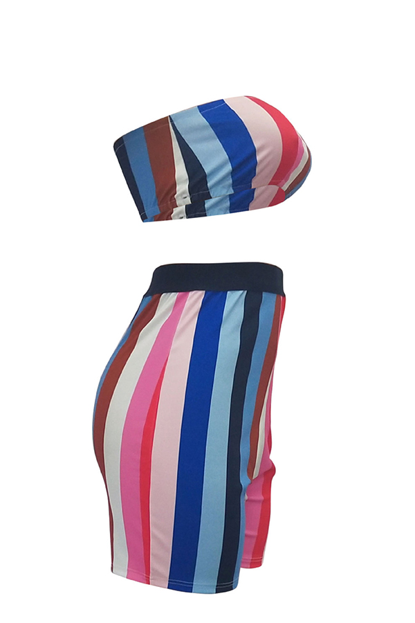 LovelySexy Bateau Neck Colorful Striped Polyester Two-piece Shorts Set