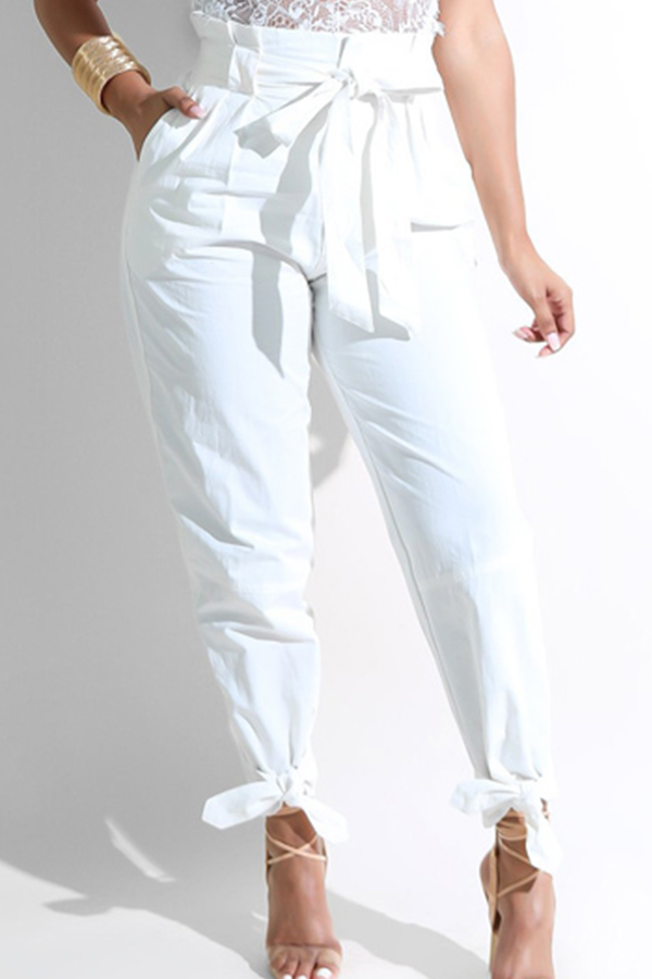 LovelyFashion High Waist White Polyester Pants