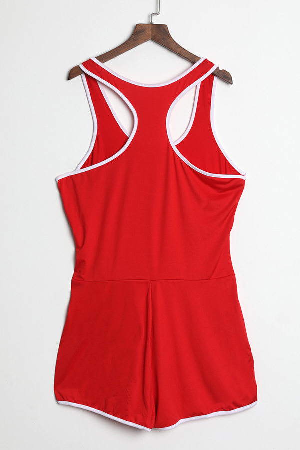 Lovely Leisure Bright Red  One-piece  Rompers