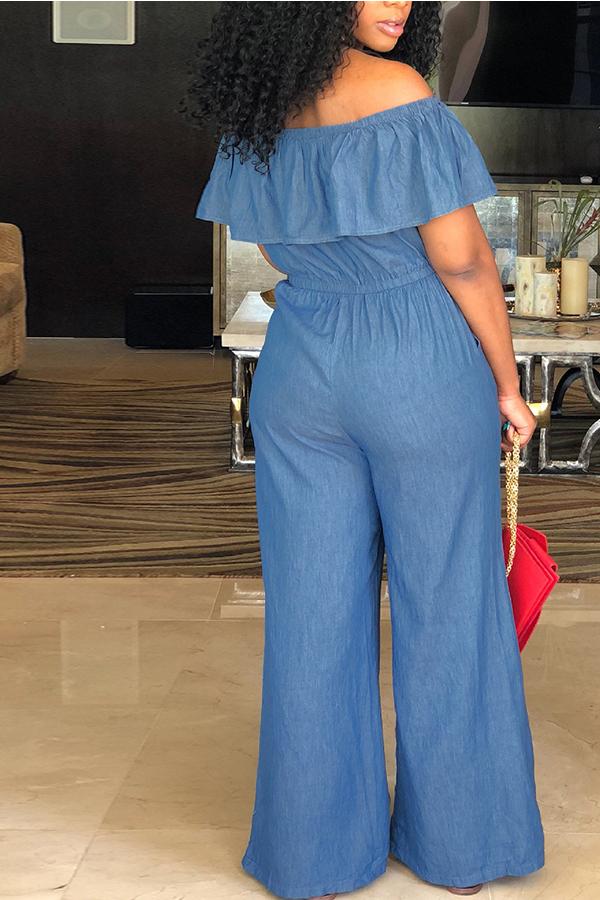 LovelyCasual Bateau Neck Flounce Blue Denim One-piece Jumpsuits