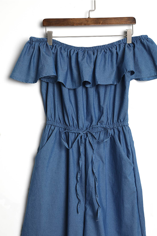 LovelyCasual Bateau Neck Flounce Blue Denim One-piece Jumpsuits