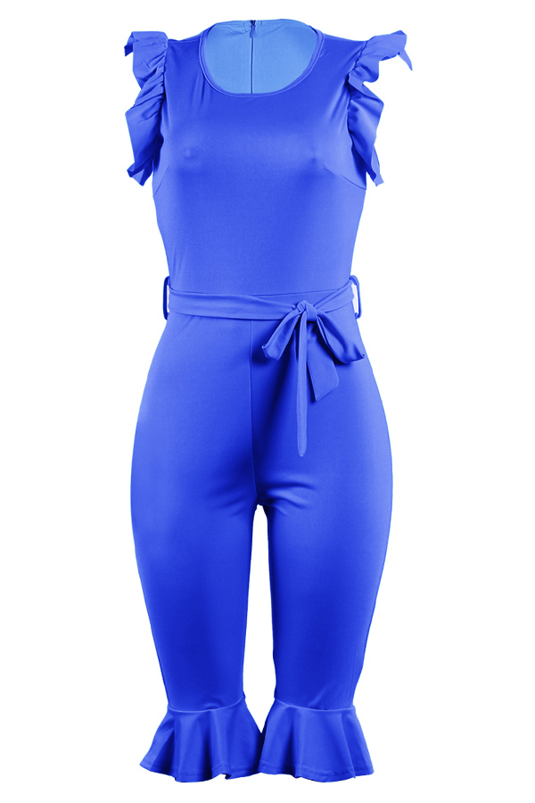 LovelyTrendy  Round Neck Flounce Royalblue One-piece Romper