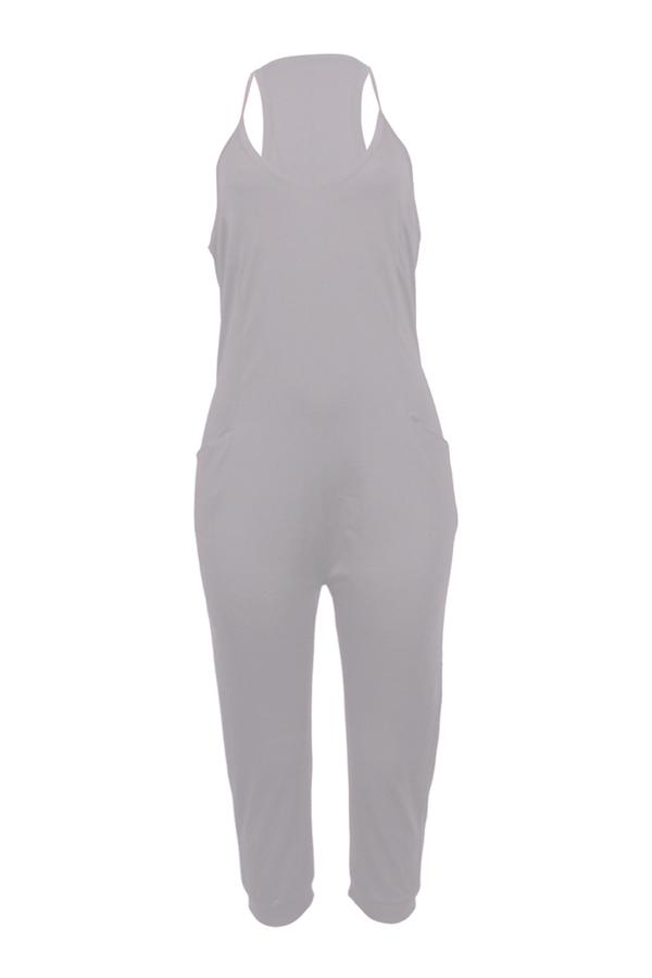 LovelyFashion V Neck Pocket Design Grey One-piece Jumpsuits