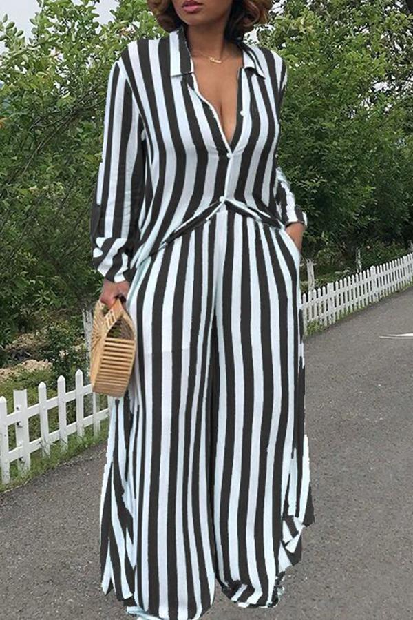 LovelyTrendy Striped Black Two-piece Pants Set