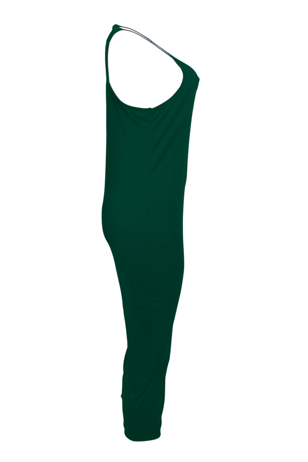 LovelyEuramerican Dew Shoulder Green One-piece Jumpsuits