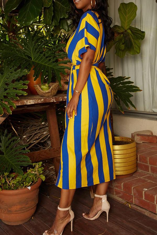 LovelyQmilch Casual Striped Cap Sleeve Half Sleeve O Neck Mid Calf Waist skirt Dresses